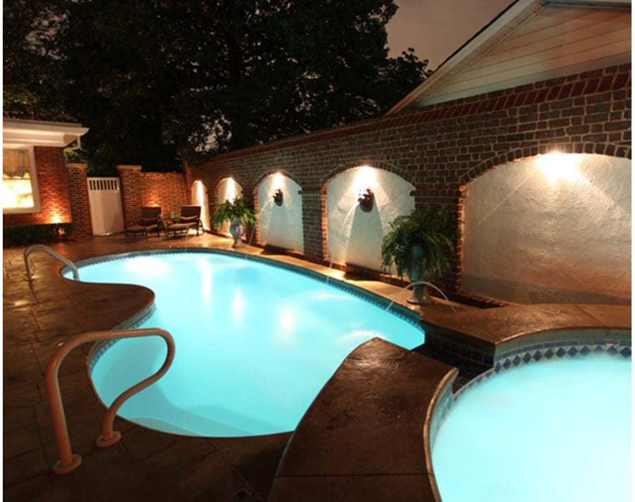 Thumbnail for Fiberglass LED pool swimming pool lights shown in pool and hot tub implementation