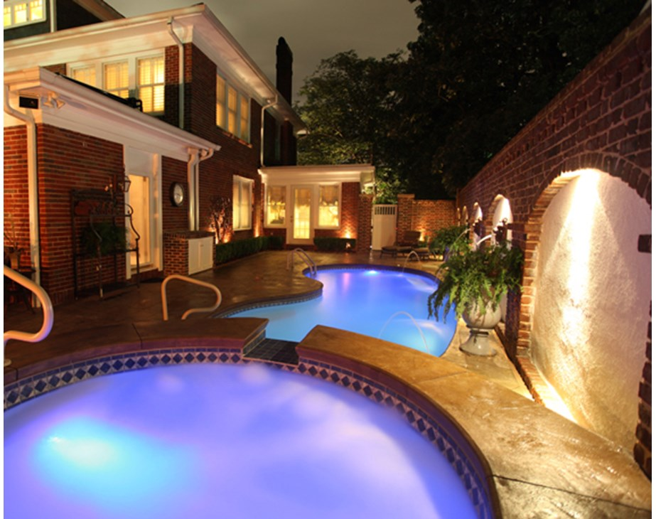 Thumbnail for Fiberglass LED pool swimming pool lights shown with color option at night