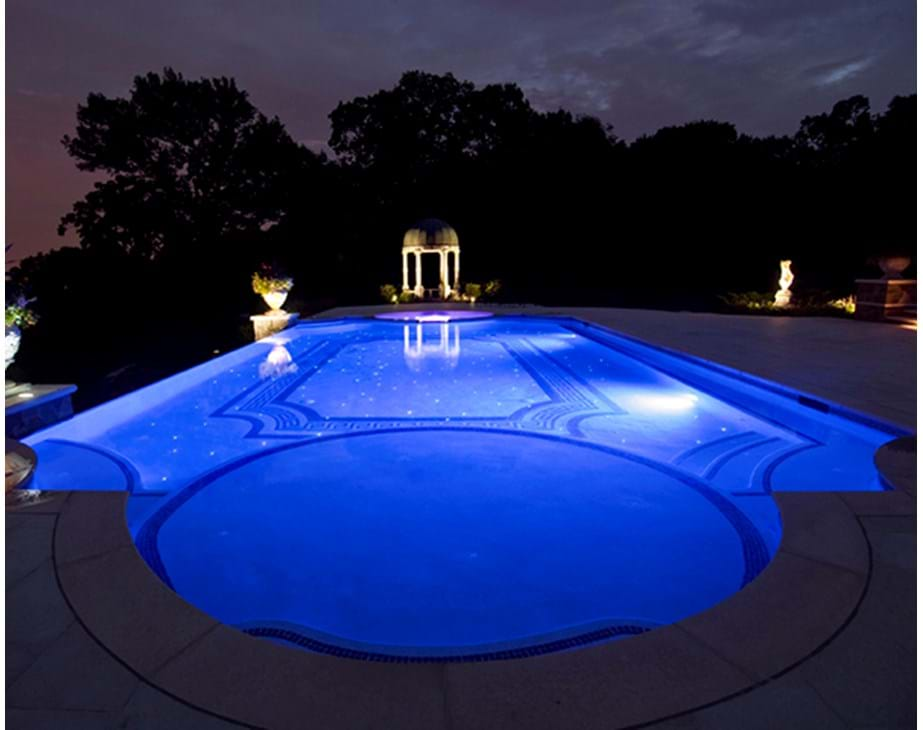 Thumbnail for Swimming pool lighting at night featuring Treo pool light