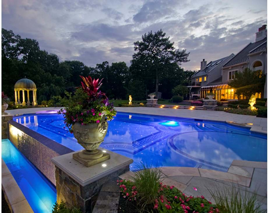 Thumbnail for Swimming pool lighting at dawn featuring Treo underwater pool lights