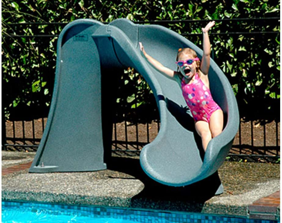 Thumbnail for Young child enjoys sliding on the Cyclone pool slide
