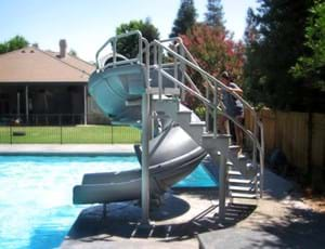 Thumbnail for S.R. Smith Vortex pool slide shown in typical pool application