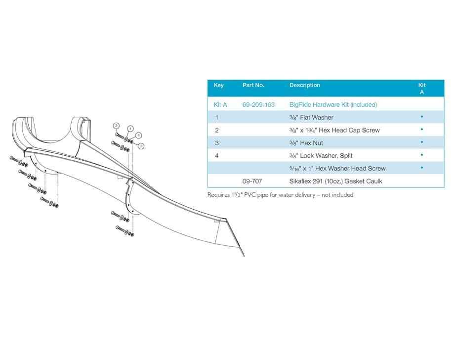 Thumbnail for Exploded technical specification of the S.R. Smith BigRide pool slide