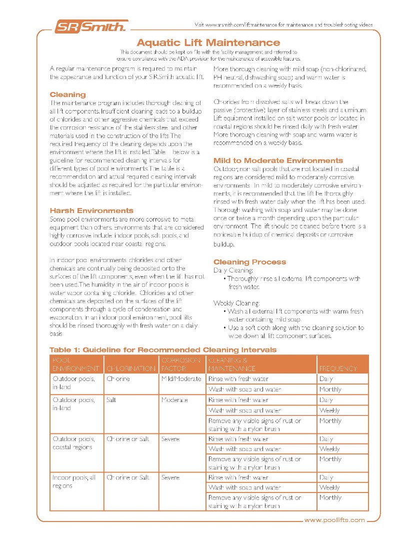 Pool Lift Maintenance Guide - English(pdf)