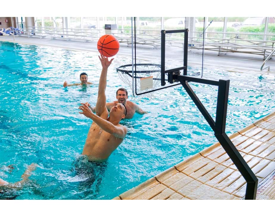 Pool basketball hoop commercial rocksolid extended reach s r smith - Pool basketball ...
