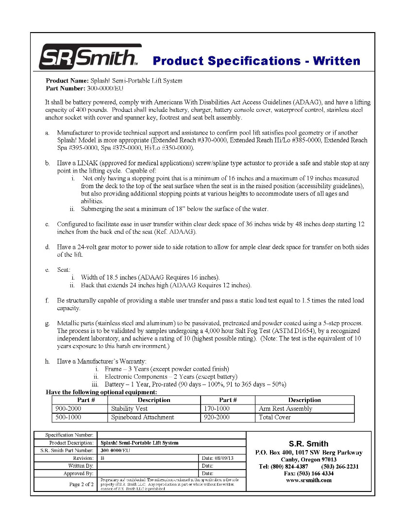 Splash Pool Lift Official Sr Smith Products 36 Volt Battery Wiring Diagram Specificationspdf