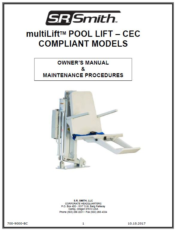 Multilift Pool Lift Accessibility Equipment S R Smith